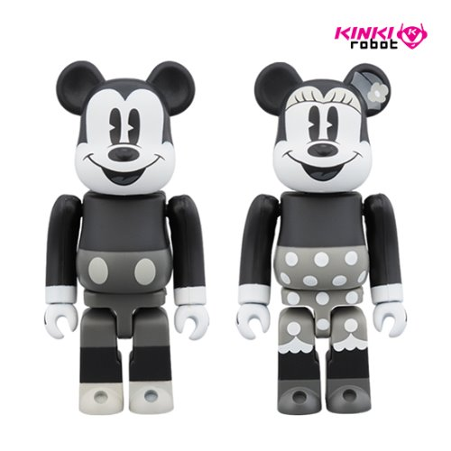 100%BEARBRICK MICKEY MOUSE B&W 2PCS SET