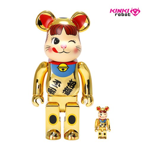 400%+100%BEARBRICK MANEKINEKO PEKO GOLD PLATED 2