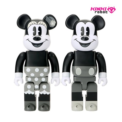 1000%BEARBRICK MICKEY MOUSE B&W, MINNIE MOUSE B&W (SET)
